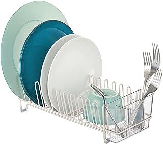 mDesign étendoir à vaisselle en métal et plastique – égouttoir à vaisselle pour le plan de travail ou pour l'évier – avec ...