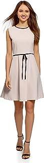 oodji Ultra Damen Kleid mit Reißverschluss und Schleife an der Taille