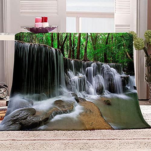Manta De Cama 3D Paisaje de Cascada Manta Reversible Suave y Esponjosa De Lana Estampado Manta de Dormitorio para Cama Infantil Individual Matrimonio 150x200cm