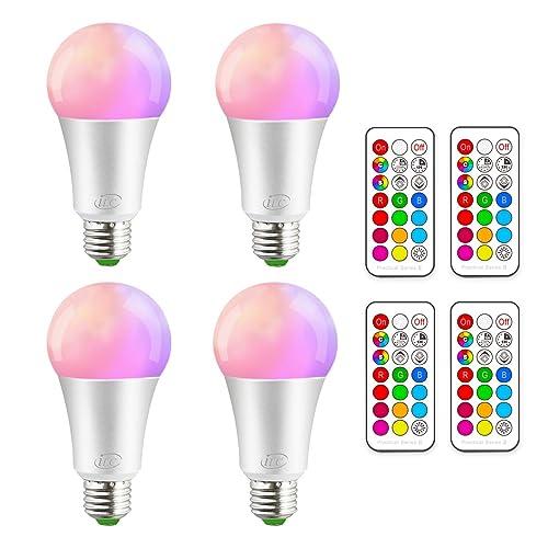 iLC Bombillas Colores RGBW LED Bombilla Regulable Cambio de Color 10W E27 Edison - RGB 12