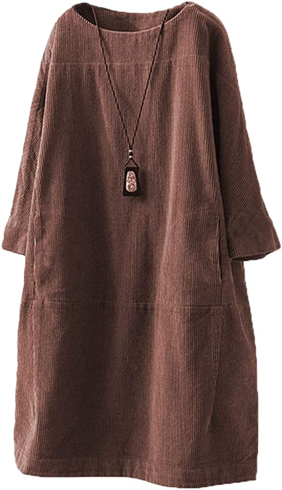 Large size round neck corduroy casual dress,women/'s dress,handmade corduroy dress,Maxi dress,solid cotton dress,winter black warm dress