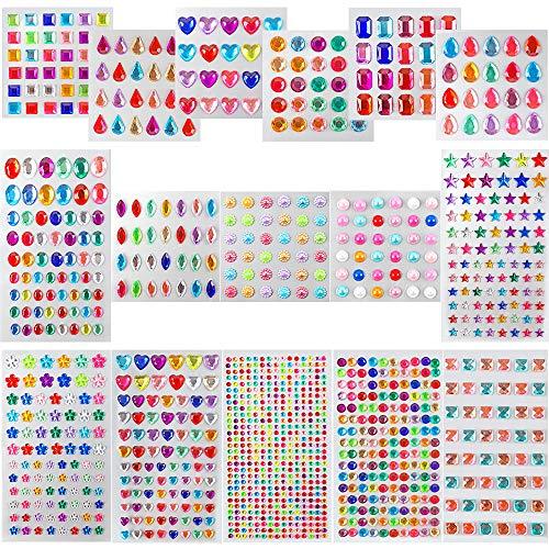 Outuxed Selbstklebende Strasssteinen Aufkleber, 16 Blätter 1232 Stück Glitzersteine zum Aufkleben, Acrylfarbener Schmucksteine zum Basteln für Kinderhandwerk, Fotorahmen