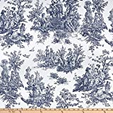 EXCLUSIVE Premier Prints Colonial Toile Cotton Duck Blue Fabric by the Yard