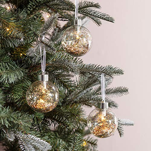 Lights4fun - Set di 3 Palline di Paillettes Dorate in Vetro con LED Bianco Caldo a Pile per Natale