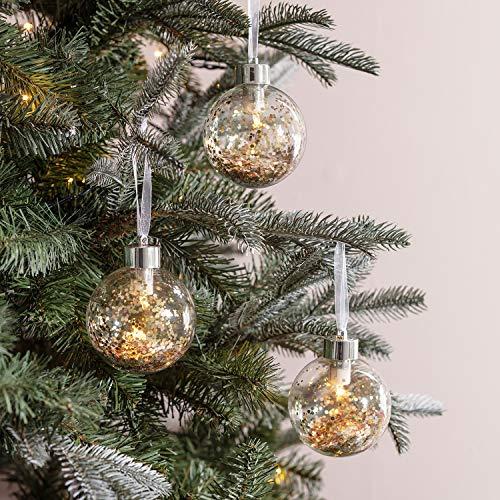 Lights4fun - Juego de 3 Bolas de Navidad de Vidrio con Purpurina Dorada con LED Bianco Caldo a Pile per Natale