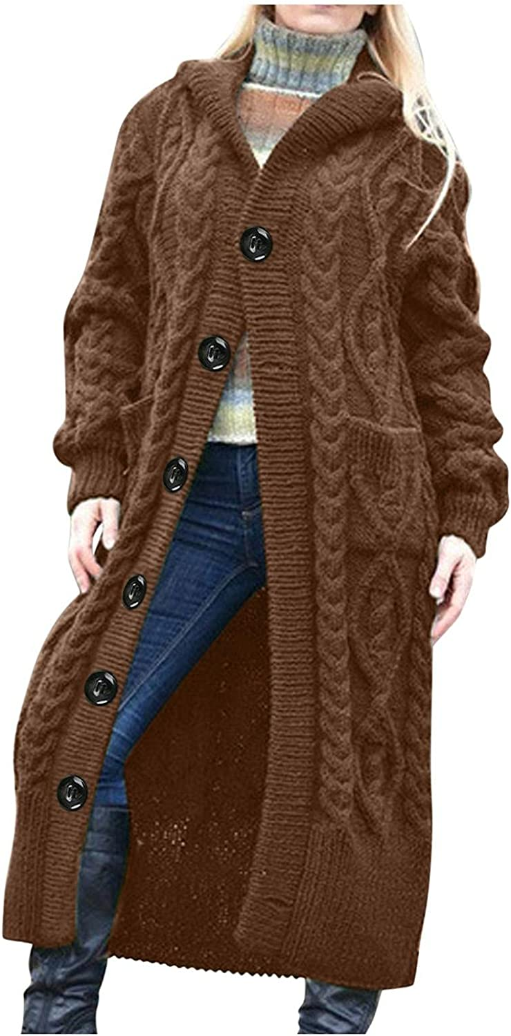 Women's Long Sleeve Open Front Knitted Cardigan Sweater Solid Color Batwing Cable Knitted Button Cardigan Outwear Coats