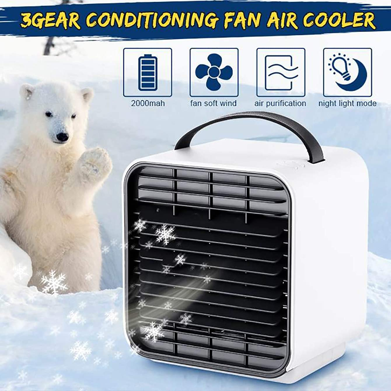 Mini Negative Ion Air Cooler, 3 in 1 Personal Space Air Conditioner, Humidifier & Purifier for Home Office Water Cooling Fan, Super Energy Saving, 3 Gear, 2000mAh,White