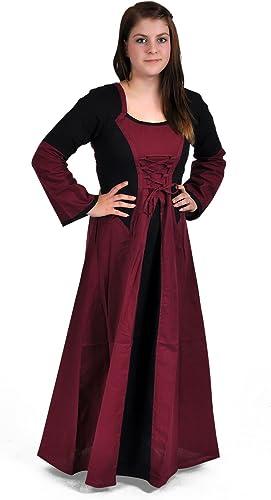 Medieval Vestido Largo de Color rojo negro Pecho Cordones más Rock Trompeta Brazo