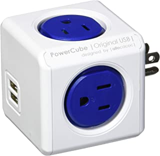 [New Version] PowerCube 4 Outlets Dual USB Port Surge Protector Wall Adapter Power Strip with Resettable Fuse, Cobalt Blue
