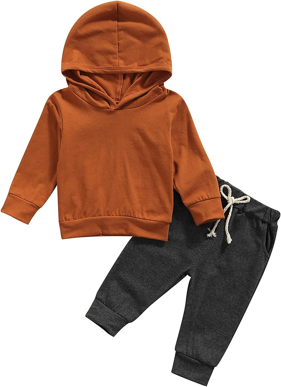 Kids Weekly update Baby Boy Girl Clothes Set Solid Sweatshi Hooded Long Sleeve lowest price