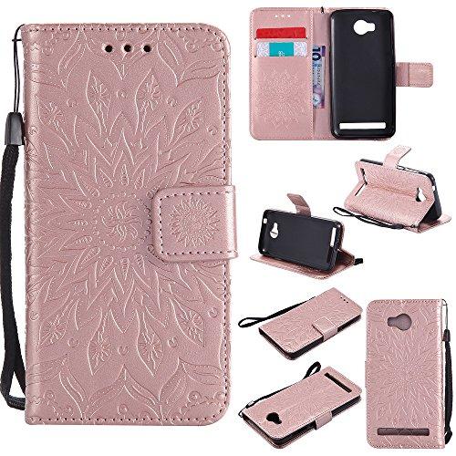 Lomogo Cover Huawei Y3II Fiore in Rilievo, Custodia Portafoglio in Pelle Porta Carta di Credito con Chiusura Magnetica per Huawei Y3II / Y3 2 - KATU22556 Oro Rosa