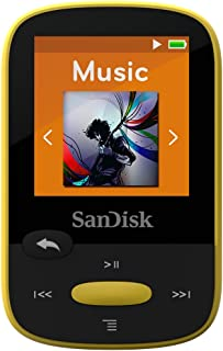 SanDisk Clip Sport 8GB MP3 Player, Yellow With LCD Screen and MicroSDHC Card Slot- SDMX24-008G-G46Y
