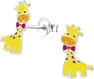 Cute Giraffe Studs Earrings Sterling Silver 925 Colorful Girl Children Nickle Free (E26489)