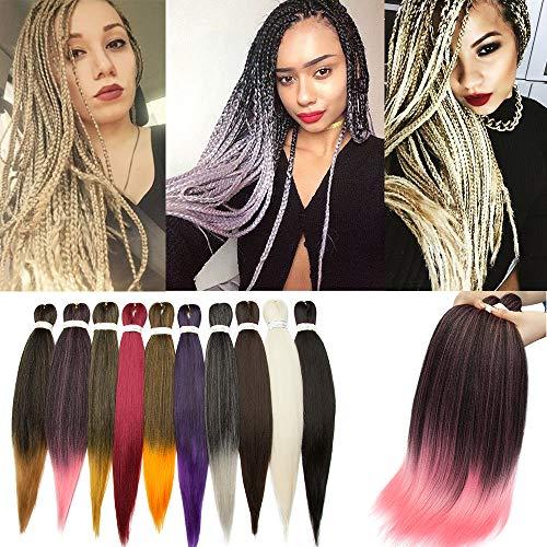 SEGO Meches Pour Tresses Africaine Rajout Extension Cheveux Fibre Synthetique Kanekalon Box Braids Crochet Braids - [ 1 Ton 100g ] 26 Pouces (66cm) Noir Naturel+Rose