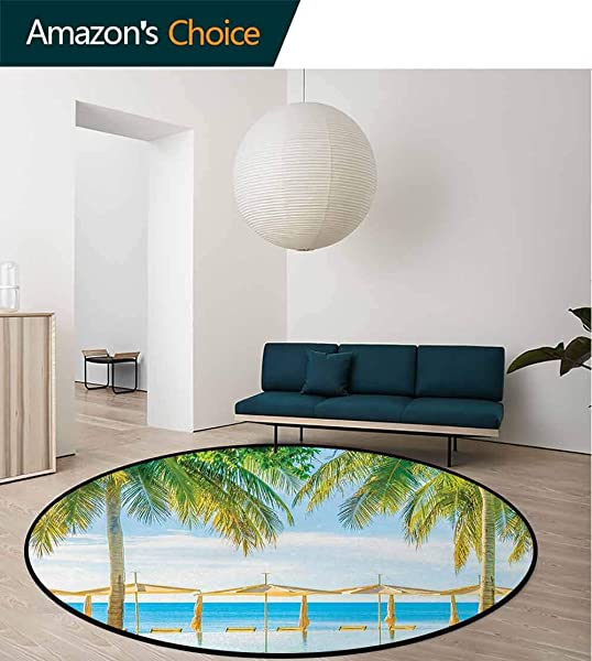 Landscape Modern Machine Washable Round Bath Mat Exotic Beach With Pool Nature With Soft Light Sun Rays Fantastic Holiday Theme Non Slip Living Room Soft Floor Mat Diameter 71 Inch Green Blue