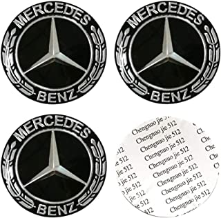 DIYcarhome 4PCS 65mm/2.56inch Auto Car Sticker Wheel Center Hub Cap Logo Aluminium fit for Mercedes-Benz
