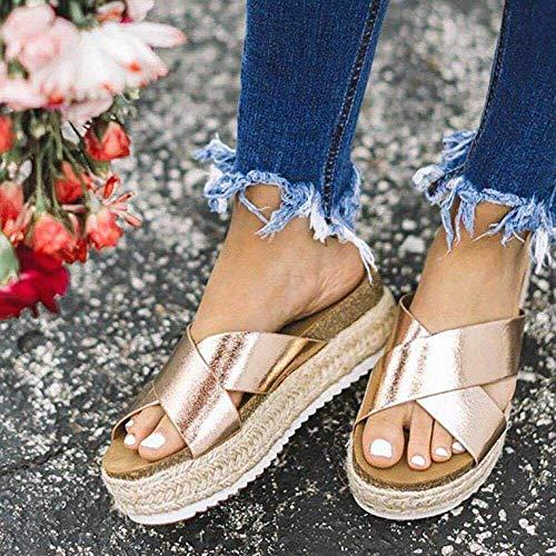 Cxypeng Sandalias Zueco de Plataforma para Mujer,Zapatillas de Playa de Cuerda de cáñamo con Fondo Grueso y Boca de pez, Sandalias con cuña Cruzada-Gold_36,Zapatillas Mules Mujer