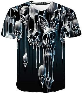 Men 3D Printing Short Sleeve Blouse T Shirt Skull Print Shirt Pullover Tops by Lowprofile