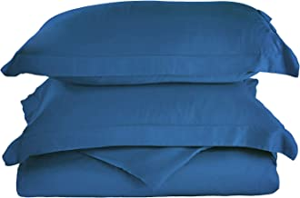 طقم غطاء لحاف كينج / كاليفورنيا كينغ 100% رايون من الخيزران، مريح للغاية، أنعم من القطن، أزرق غامق