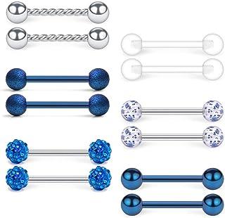 14G Acero inoxidable & Claro Acrylic Piercing Lengua Pezon Anillo Barra Bars Retenedores Joyería piercing del cuerpo Hombr...