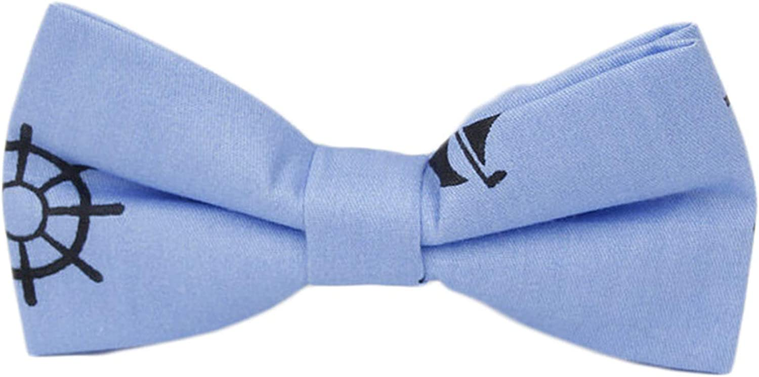 Andongnywell Classic Pre-Tied Bow Tie Anchor Printed Bow Tie Cotton Adult Bowtie for Men Women Formal Solid Tuxedo Tie