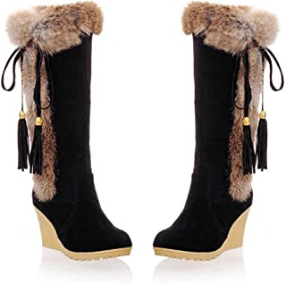 Women Wedges Knee High Boots Round Toe Comfortable Winter Fringe Slip-On Warm Fur Lined Snow Boots