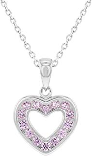 925 Sterling Silver CZ Small Open Heart Pendant Necklace for Girls 16