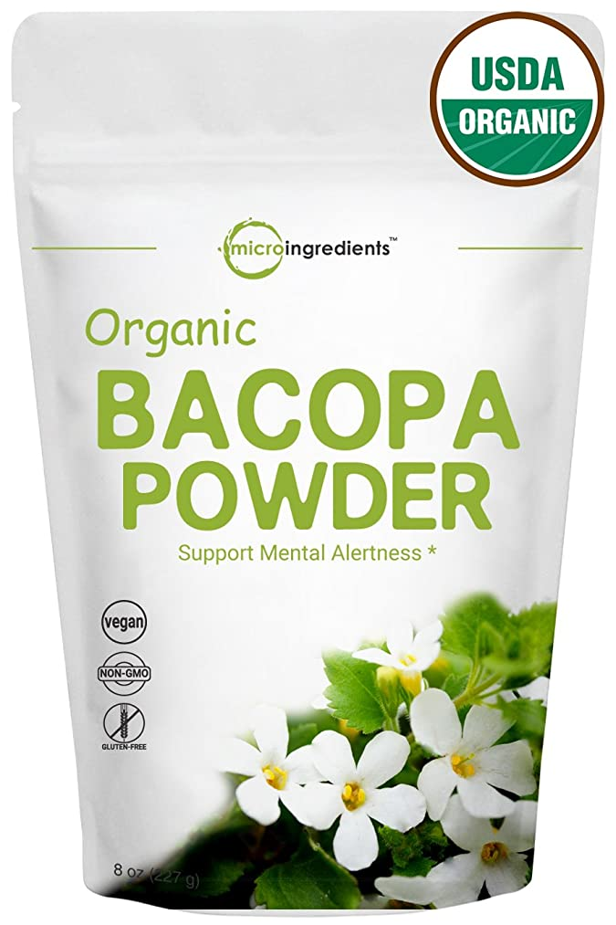 Organic Bacopa Monnieri Powder, 8 Ounce, Ayurvedic Herb to Promote Cognitive & Brain Health, Non-GMO and Vegan Friendly