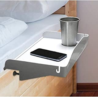 White Bedside Tray - Bedside Shelf for Bed - Dorm Bed Caddy with Cup Holder & Cord Holder - Nightstand for Students - Bunk...