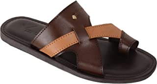 VONZO Men Brown Slip On Sandal Chappal with Toe