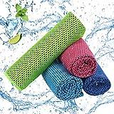 LAITER 4 pcs Toalla de Enfriamiento Toalla de Fría Instantánea Toalla de Microfibra Secado Rápido para Deportes (100 x 30 cm) para Ejercicios en el Gimnasio Actividades al Aire (4 Colores)