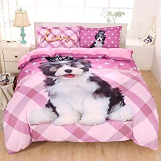 ENJOHOS Puppy Dog Bedding for Girls 3 PCS Cute Animal Print Pink Duvet Cover Set Lightweight Comforter Cover with 2 Pillow Shams,Queen Size