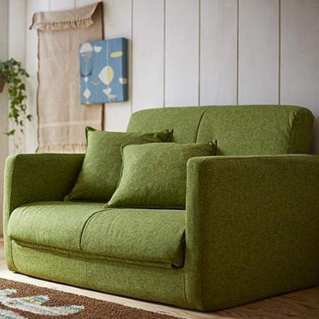 生活雑貨 ソファーベッド ソファー 脚を伸ばしてゆったり寝れる 3つ折りコンパクト 2P グリーン
