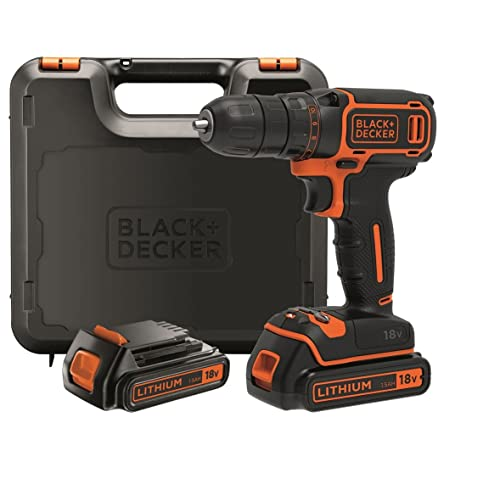 BLACK+DECKER BDCDC18KB-QW Perceuse visseuse sans fil - 18V - 30 nm - Lithium-ion - 2 batteries 1,5 Ah - Chargeur inclus - Livrée en coffret
