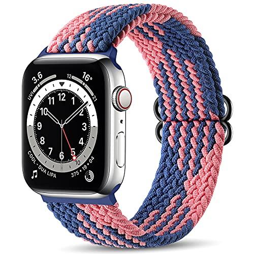 Maledan Correas Compatible con Apple Watch Correa 40mm 38mm,Correa de Estirar Elásticos Trenzados Suave de Repuesto Compatible con Apple Watch SE/iWatch Series 6/5/4/3/2/1-Rosado Azul