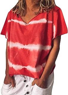 Womens Tie Dye Shirt, Casual V Neck Short Sleeve T Shirts Summer Loose Tee Blouses S-5XL Fashion Basic Tunic Tops
