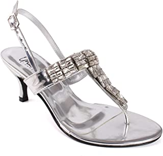 "Unze Women ""Sanne"" T Design Diamond Decorated Formal Buckle Closure Sling Back Strap Evening Wedding Slip On Kitten Heel Sandals UK Size 3-8 - SUJ024"