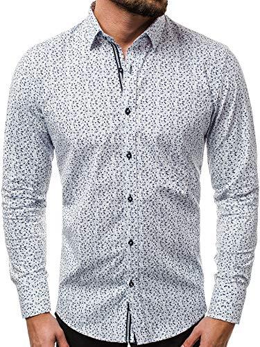 OZONEE Herren Hemd Freizeithemd Shirt Langarm Tailored Fit Flanellhemd Langarmhemd Langärmliges Slim Fit Freizeit Business Männer Jungen Trachtenhemd 777/922KO WEIß XL