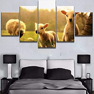 TYUIOP Canvas painting 5 pieces of home decoration wall art posters 5 high-definition printing big sunset sheep animal pai...