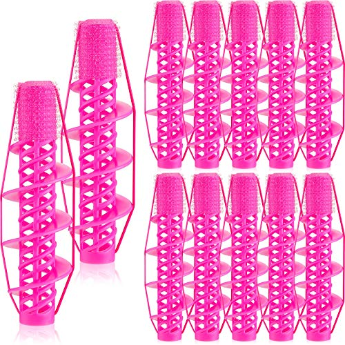 12 Pieces Spiral Curling Hair Rollers Salon Hairdressing Curlers No Heat Hair Curler Clamp Roller DIY Spiral Curling Styling Tool for Home Salon Supply