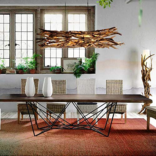 Exotischerleben Design Teak Wurzel Deckenlampe Hängelampe | Wurzelholz Holz Pendelleuchte Pendellampe Länge 180-190 cm | Unikat Deckenleuchte Handarbeit