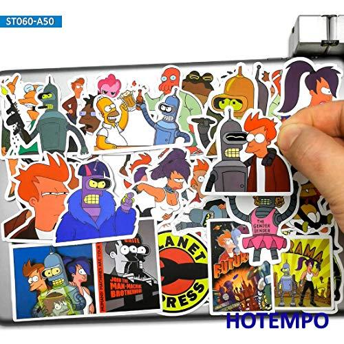 BLOUR 50pcs Anime Funny Style Future Kurier Aufkleber Spielzeug für Handy Laptop Gepäck Koffer Skateboard Cartoon Aufkleber Aufkleber