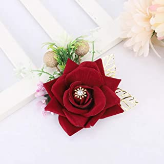 Decorative Beautiful 4.7 x 4.5in 5pcs Artificial Flower Corsage, Bridegroom Corsage, for Wedding Party Decoration Ceremony...