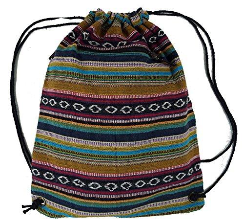 Guru-Shop Turnbeutel Rucksack Ethnorucksack - Mustard, Herren/Damen, Braun, Baumwolle, Size:One Size, 45x35 cm, Ausgefallene Stofftasche