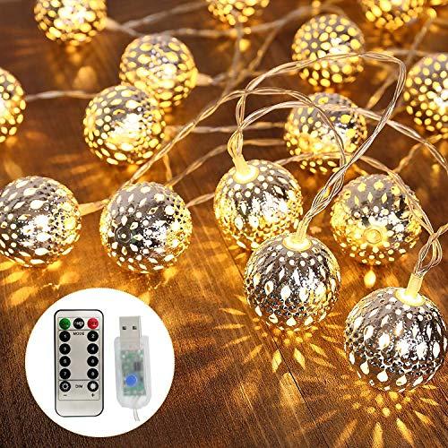 Cadena de luz de bola LED,6M 40LED Guirnalda Luces Interior,Bebé Luces de Hadas Decoración, para Jardín, Patio, Fiesta, Vacaciones, Boda, Navidad Decoración