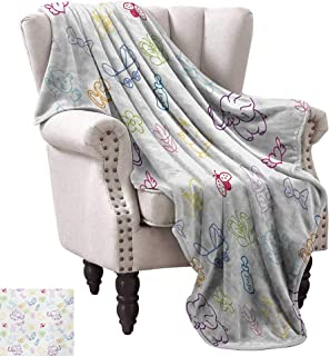 WinfreyDecor Nursery Home Throw Blanket Cartoon Drawing Style Baby Elephants Teddy Bears Flowers Butterflies Bees Pattern Home, Couch, Outdoor, Travel Use 54