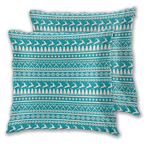 Nordic Bedroom Pillowcase, 12 x 12 Inch Christmas Elements Trees Stars Reindeers and Candy Canes Vintage Illustration Easy to disassemble Christmas Decoration Turquoise Cream Set of 2