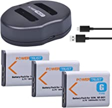 PowerTrust 3-Pack NP-BG1 NP-FG1 NPBG1 Battery and NP BG1 Dual USB Charger for Sony Cyber-Shot Shot DSC-HX5V HX7V HX9V HX10V HX30V DSC-W120 W150 W220 DSC-H3 DSC-H7 DSC-H9 DSC-H10 DSC-H20 DSC-H50