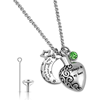 YOUFENG Urn Necklaces for Ashes Always in My Heart Love You to The Moon and Back 12 Birthstones Styles Necklace