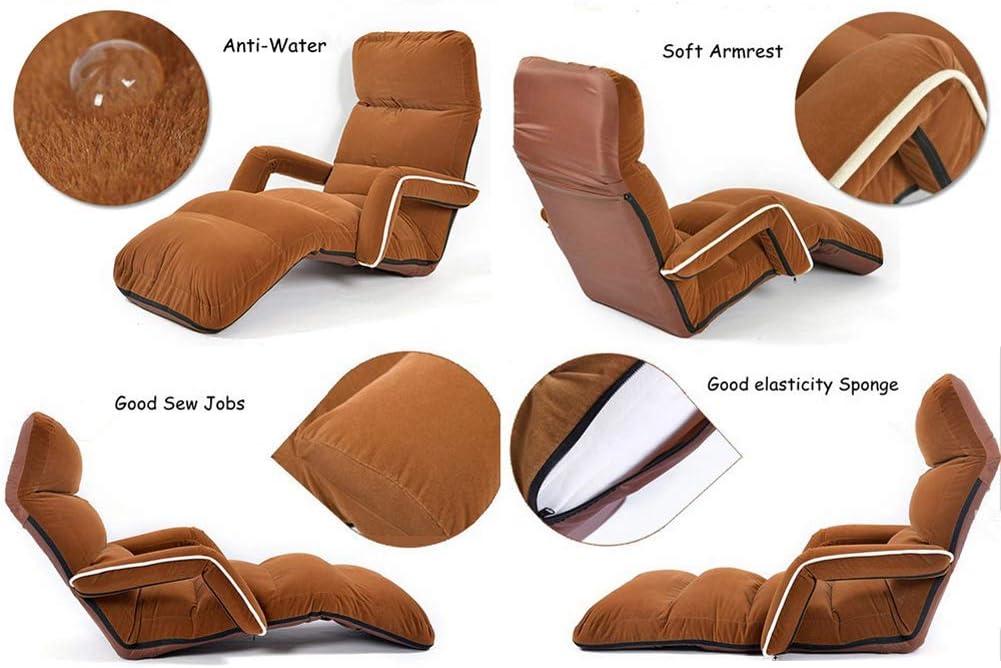 WZF Chaises Longues pour Chambre à Coucher Chaise inclinable en Daim Souple Pliable réglable 5 Couleurs canapés et fauteuils Chaise Longue Red